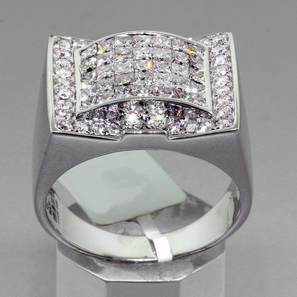 2.90 TCW Custom Design Mens Diamond Pinky Ring in White Gold ...