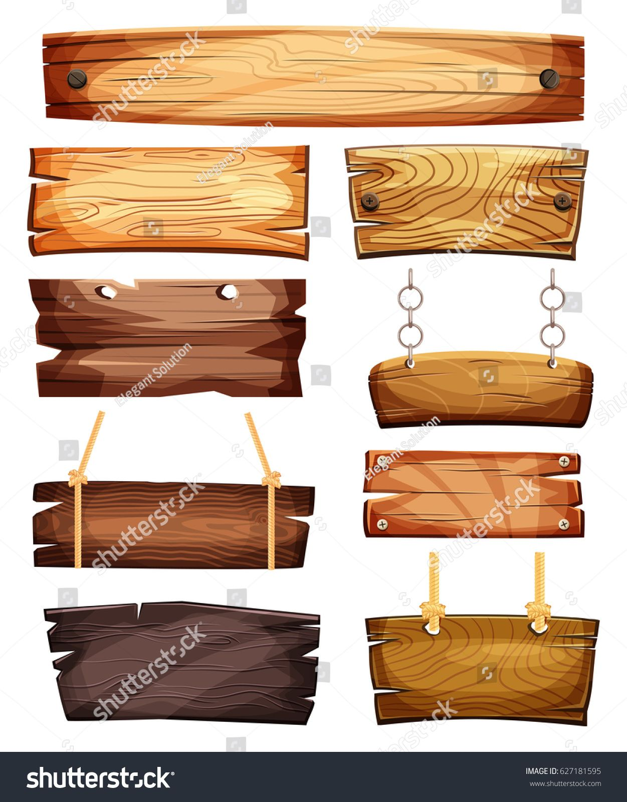 Old West Empty Signboards Or Wood Plank Blank Wooden Boards With Nails For Banners Or Messages Hanging On Chains Or R Wooden Signs Name Plate Design Signboard