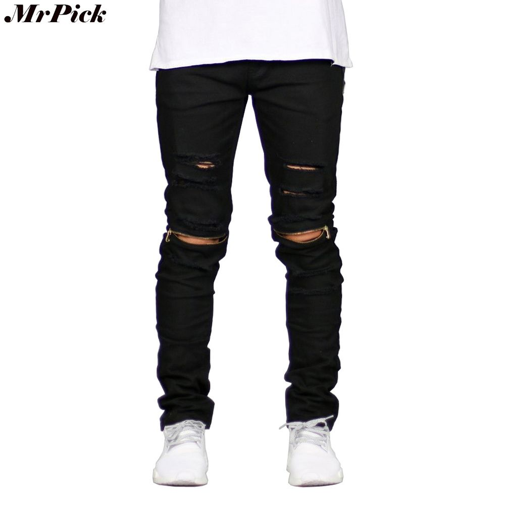 2017 Ripped Straight Jeans Men Slim Fit Zipper Jeans Men S Hole
