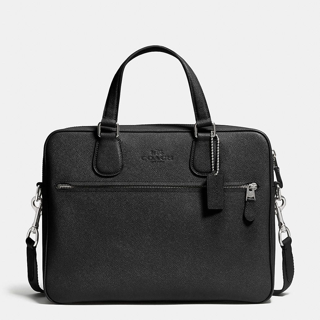 COACH HUDSON SLIM BRIEF IN CROSSGRAIN LEATHER | Leather