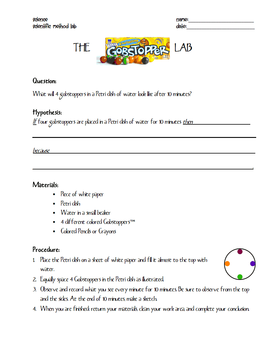 Worksheets Scientific Method Worksheet Pdf gobstopper lab pdf 3rd grade activities pinterest scientific pdf