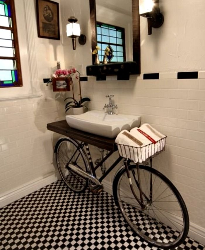 Old bike turned into a striking bathroom vanity for the black and white  bathroom - Decoist - Old Bike Turned Into A Striking Bathroom Vanity For The Black And