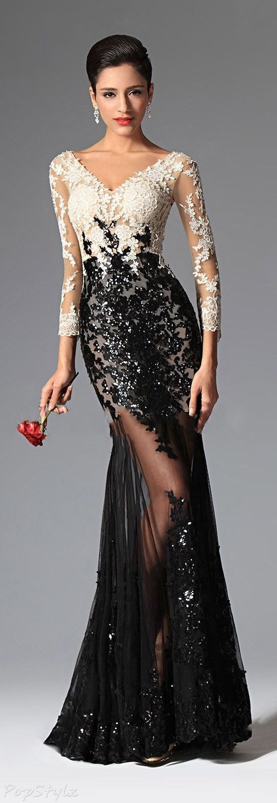 Sequin tulle u lace sleeves gown