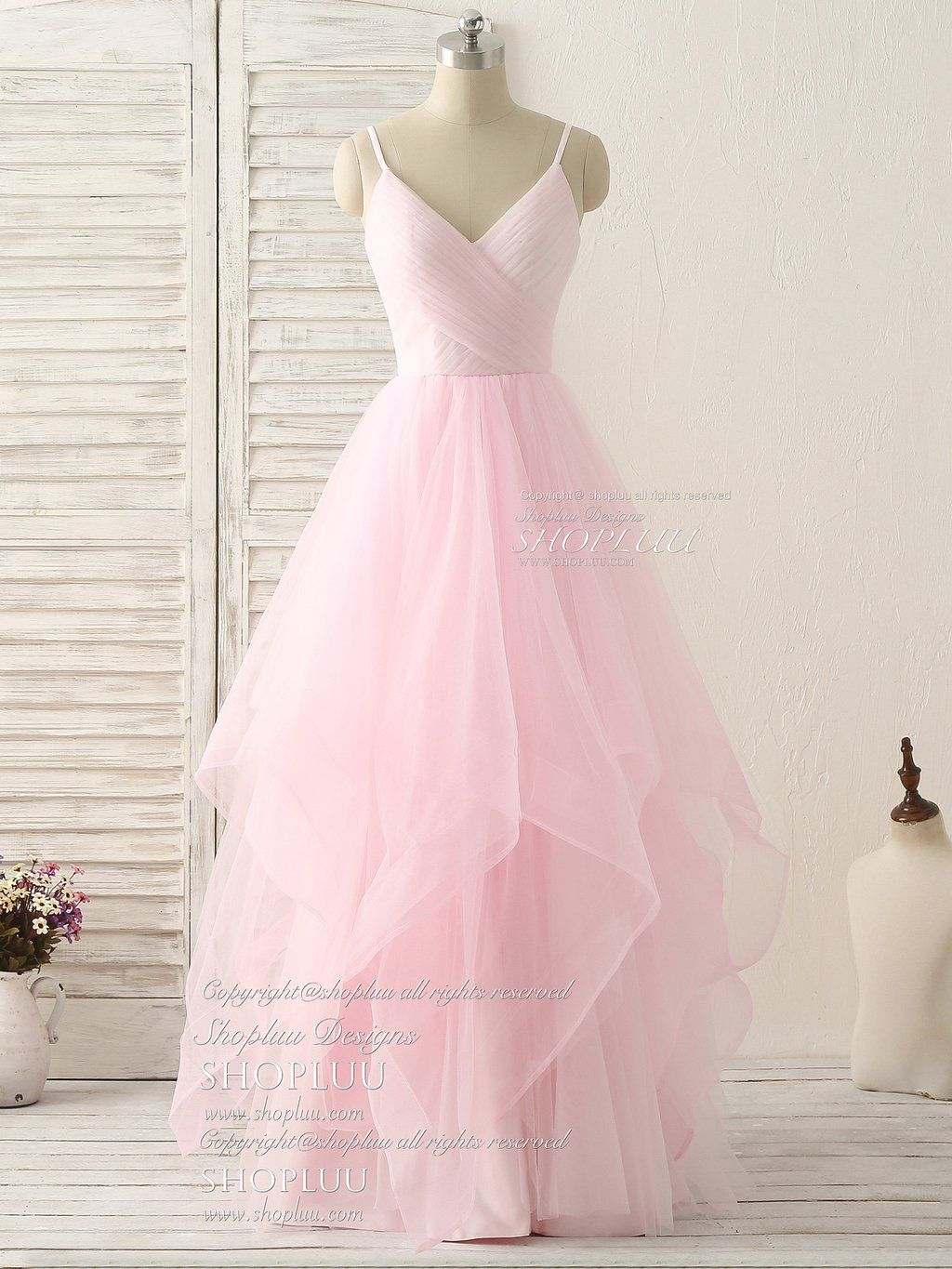 Pink v neck tulle long prom dress simple pink tulle evening dress ...