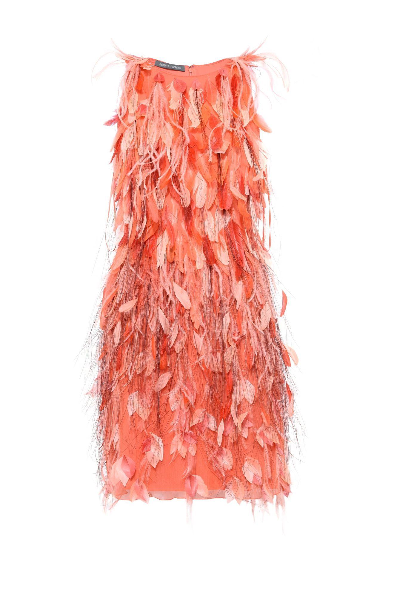 Alberta ferretti pink mini dress with plumage short dress woman e