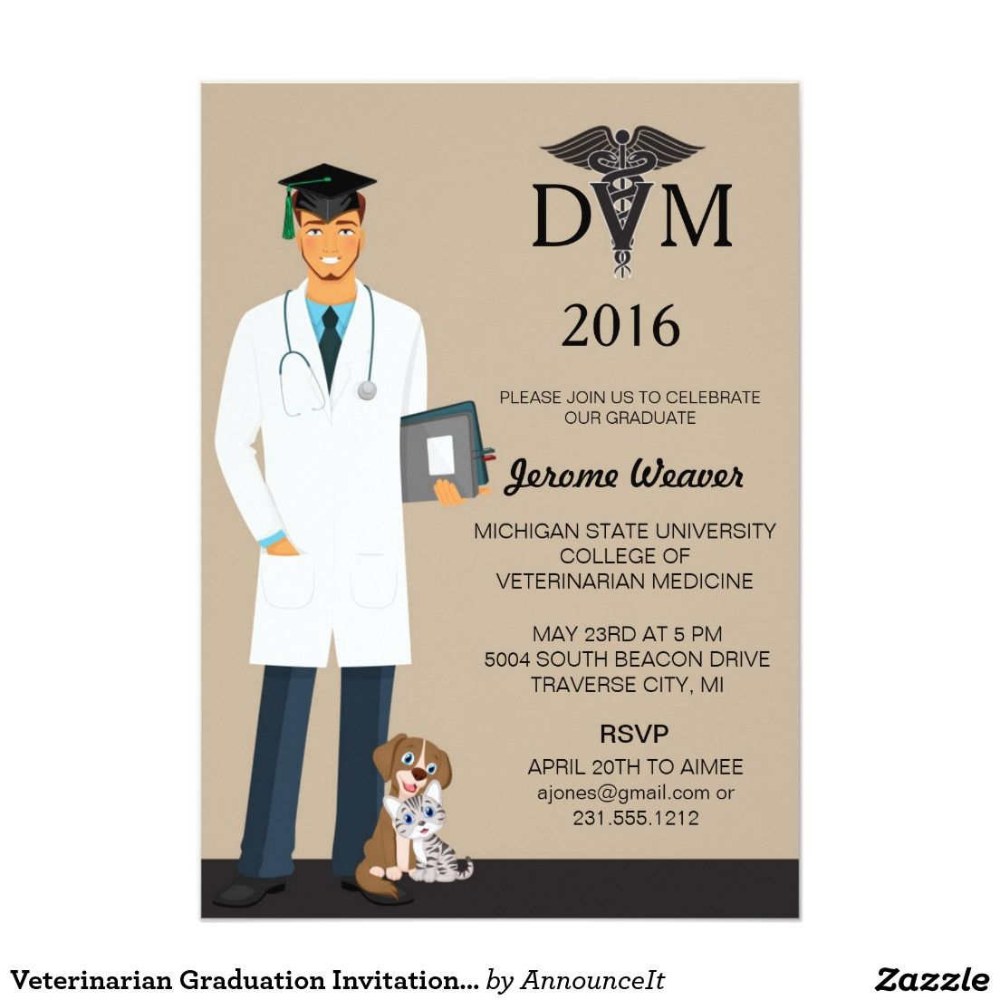 Veterinarian graduation invitation announcement zazzle pinterest veterinarian graduation invitation announcement filmwisefo Images