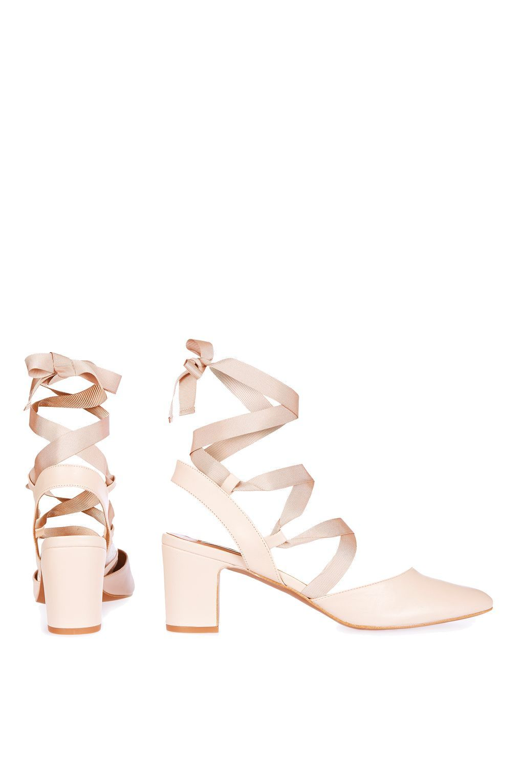 JOSTLE Mid Tie Block Heeled Ballet Pumps - Spring/Summer 2017 Collection -  Clothing -