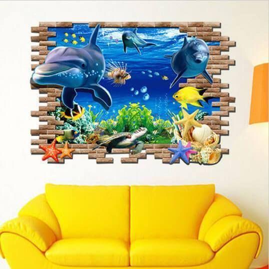 3D Shark Ocean Mural Removable Wall Sticker Art Vinyl Decal Kids Room SP