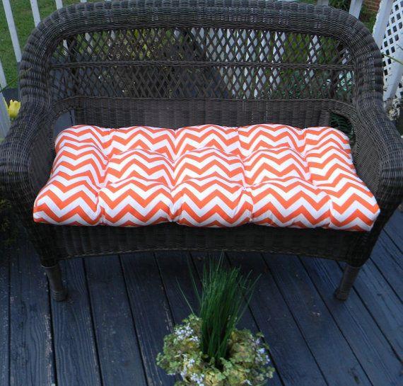 Items Similar To Indoor / Outdoor Cushion For Wicker Loveseat Bench Settee    Orange U0026 White Zig Zag / Chevron On Etsy