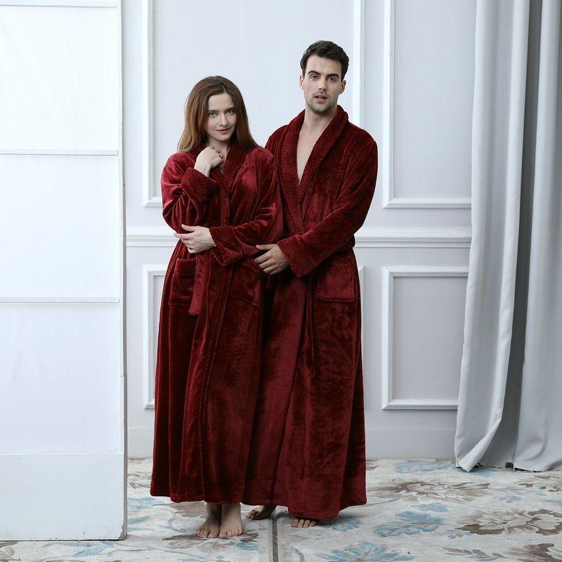 Women Bridesmaid Robes Bath Gown Winter Warm Thick Long Sleeve Flannel  Bathrobe Female Sleepwear Lounges casual Nightwear 18923d94f