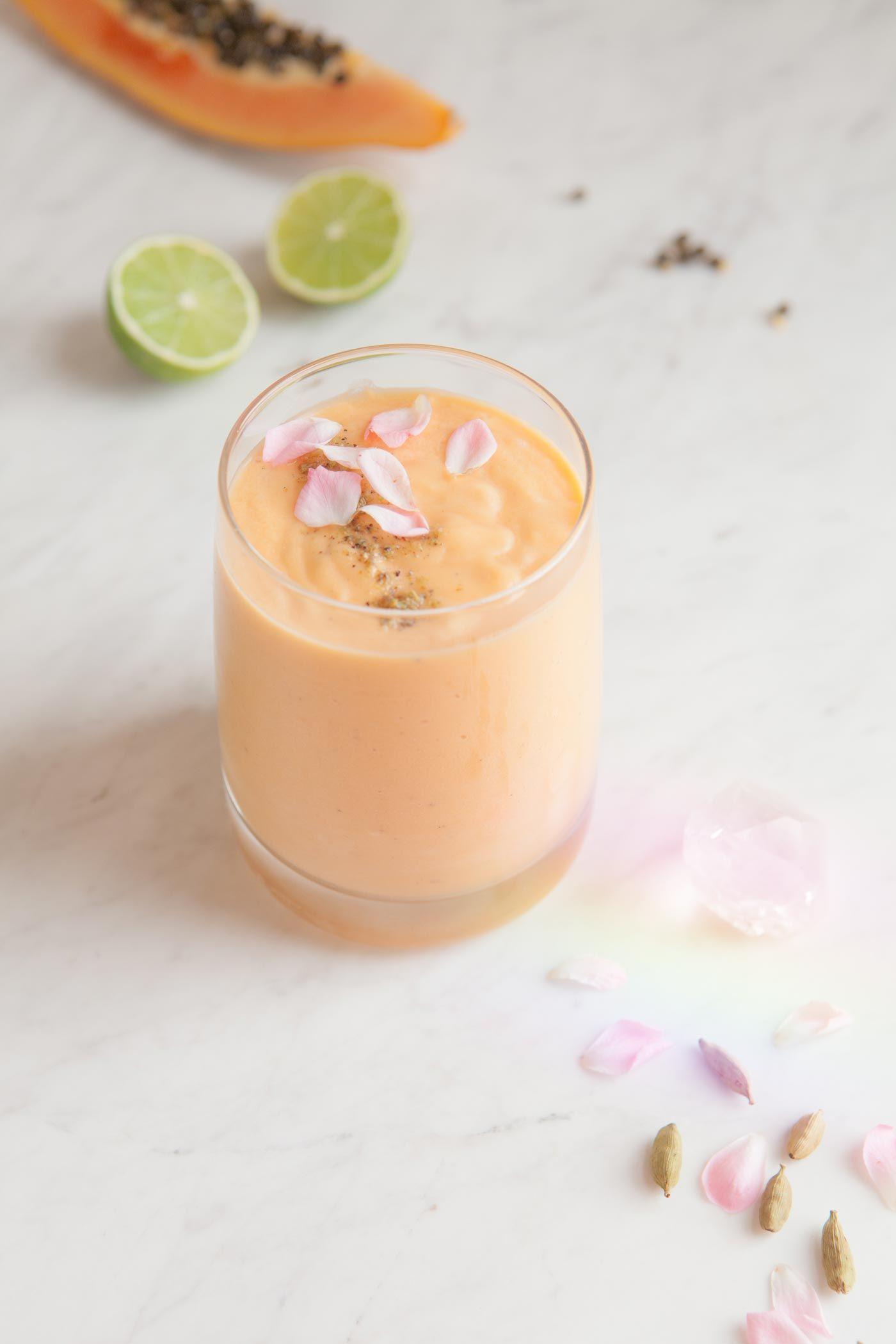 Dairy free Papaya Lassi - made with coconut yoghurt, fresh lime, cardamom, rose and Manuka honey.