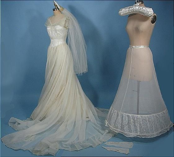 c. 1950\'s Sheer Wedding Gown Complete with Original Attached Ruffled ...