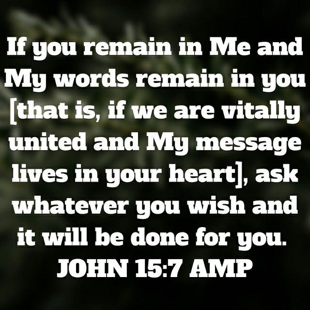 """""""If you abide in Me, and My words abide in you, you will ask what you desire, and it shall be done for you"""" John 15:7 NKJV"""