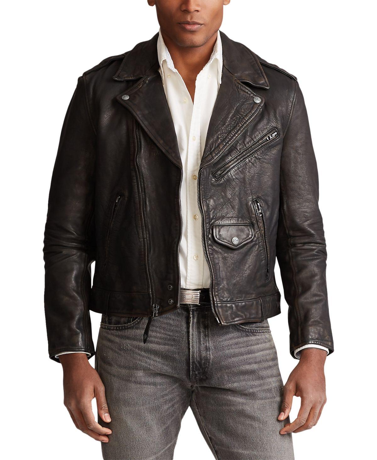 Polo Ralph Lauren Men S Leather Biker Jacket Black In 2021 Mens Leather Bomber Jacket Mens Leather Jacket Biker Leather Jacket Men [ 1467 x 1200 Pixel ]