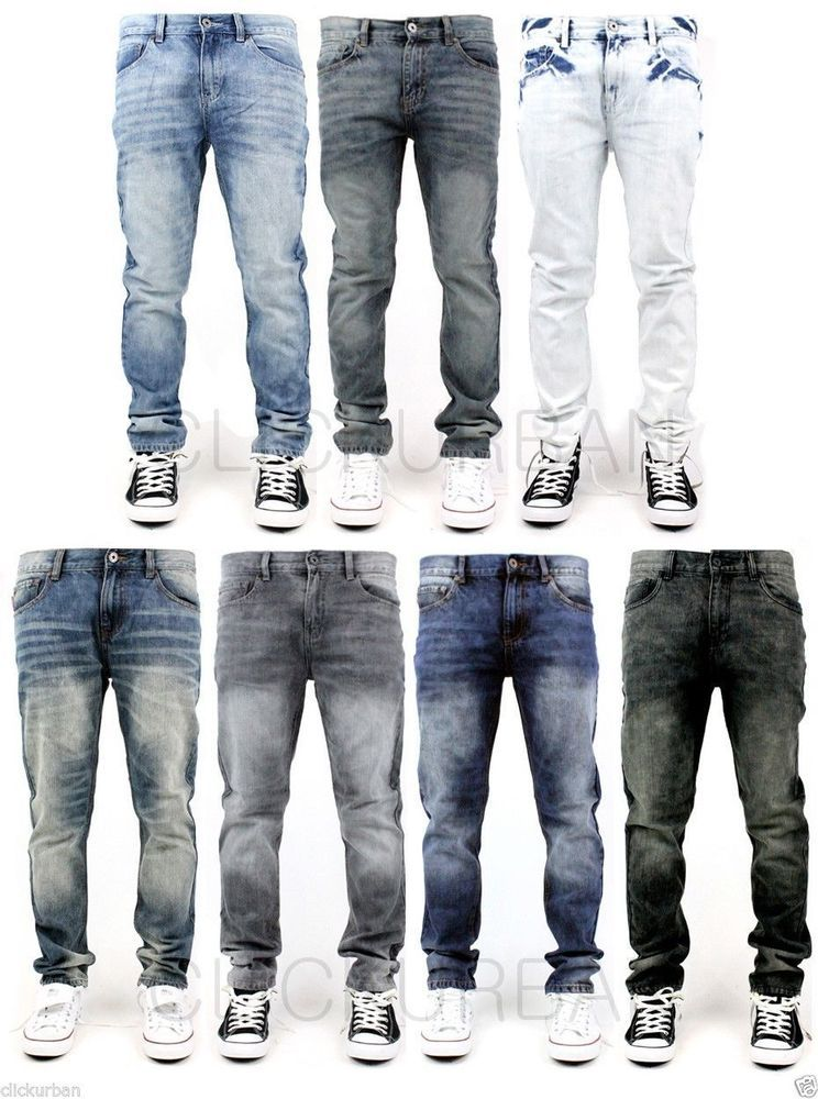 Kayden K. Men's Acid Washed Tapered Fit Jeans Pants Size : 30-38 ...