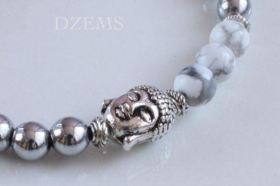 Howlite & Hematite Gemstones Buddha beaded Stretch by DZEMS