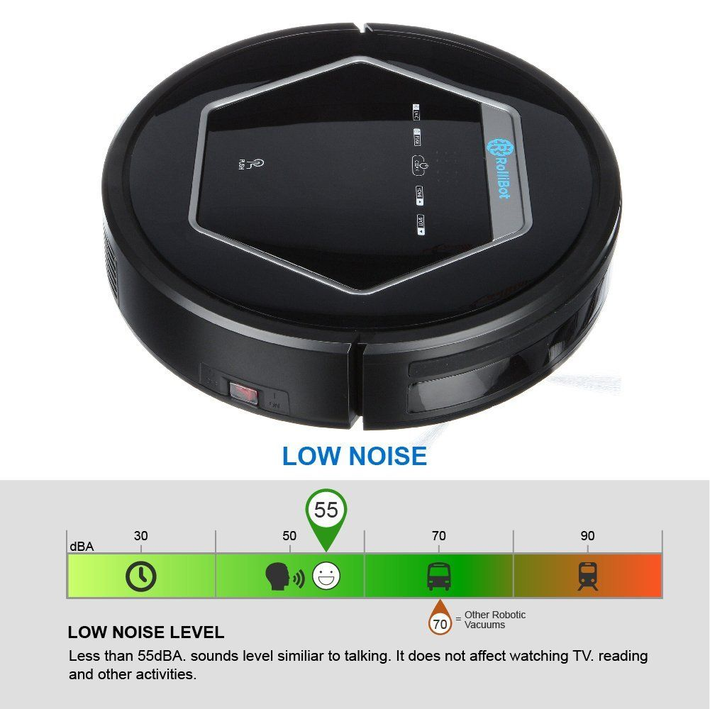 Mops with UV Light Sterilization for Hardwood Tile and Linoleum. Vacuums Rollibot BL618- Quiet Robotic Vacuum Cleaner Sweeps