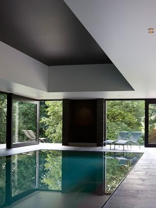 Excellent Swimming Pool Residence Building Sweet Indoor With Rectangle Swimming  Pool Along Two White Lounge Chair And Wooden Frame Glass Window And Sliding  ...