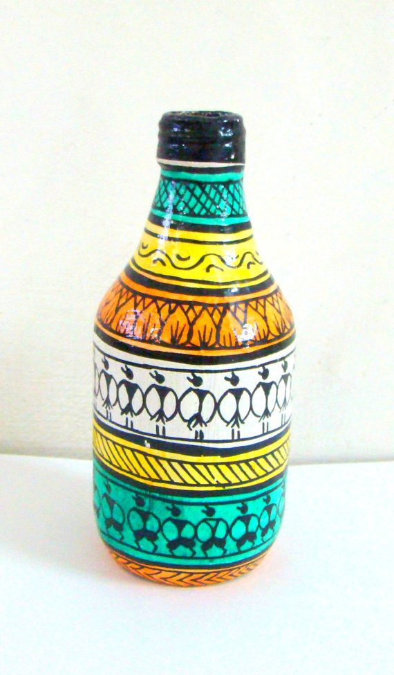 Painted Bottle Pattachitra Home Decor Indian Handicraft Hand