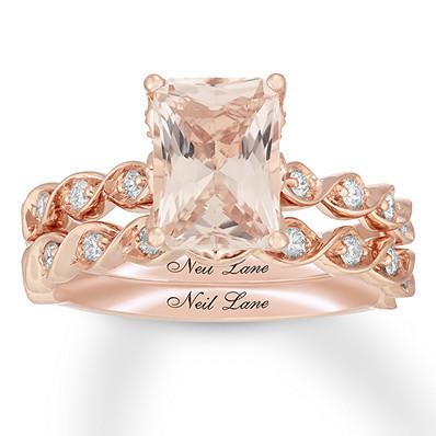 18c01955d Neil Lane Morganite Bridal Set 3/8 ct tw Diamonds 14K Rose Gold ...