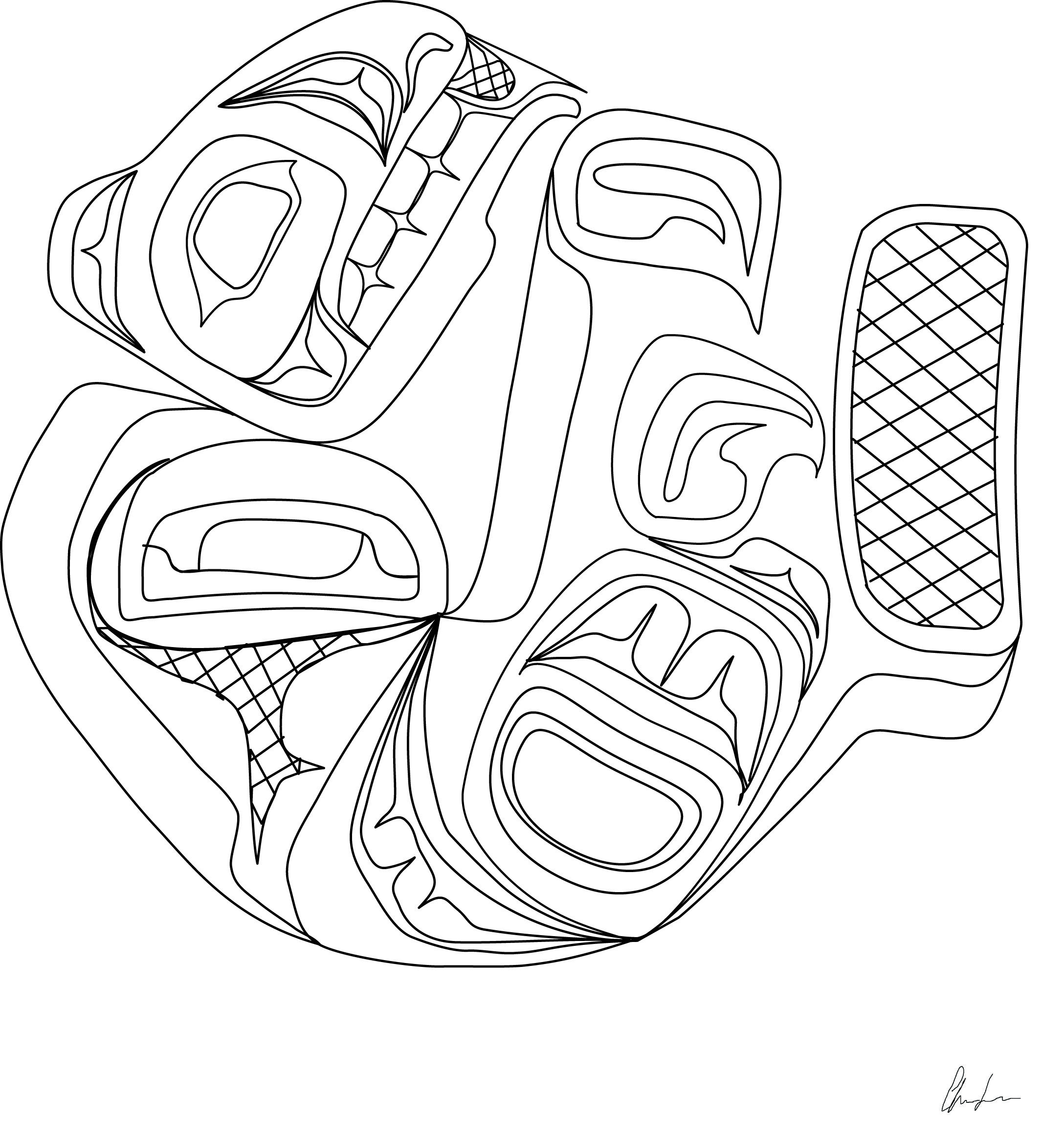 Sleeping Beaver Coloring Book Design Northwest Coast First Nations Style By Charrine Naziel Lace Designs Coloring Books Native American Art Coloring Books