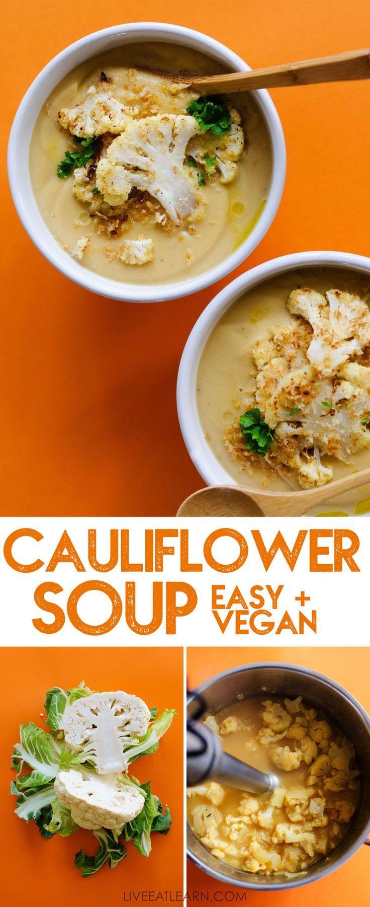 Dieses Rezept für gesunde Blumenkohlsuppe ist ultra-cremig UND einfach UND vegan! Es ist eine Idee für ein schnelles Abendessen mit viel Geschmack, wenig Kalorien und einer Suppe, die die ganze Familie lieben wird. Rezepte Blumenkohlrezepte // Live Eat Learn  - -