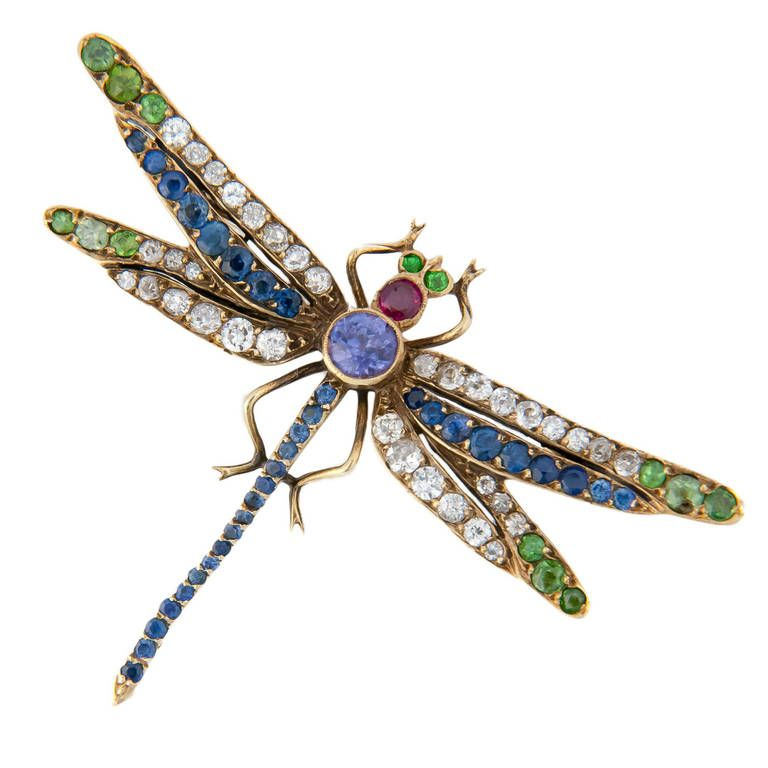 Art Nouveau Gem Set Gold Dragonfly Brooch | From a unique collection of vintage brooches at https://www.1stdibs.com/jewelry/brooches/brooches/