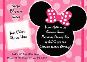 minnie mouse birthday invitations | Personalized Minnie Mouse ...