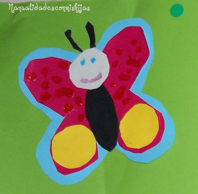 Manualidades con mis hijas. Mariposa cartulina
