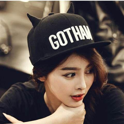 Gotham Embroidered baseball cap for teens black flat brim hip hop caps with  ears f9c8b8fdc50d
