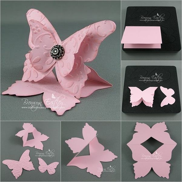 New Ideas For Making Greeting Cards Part - 41: DIY 3D Butterfly-Shaped Greeting Card