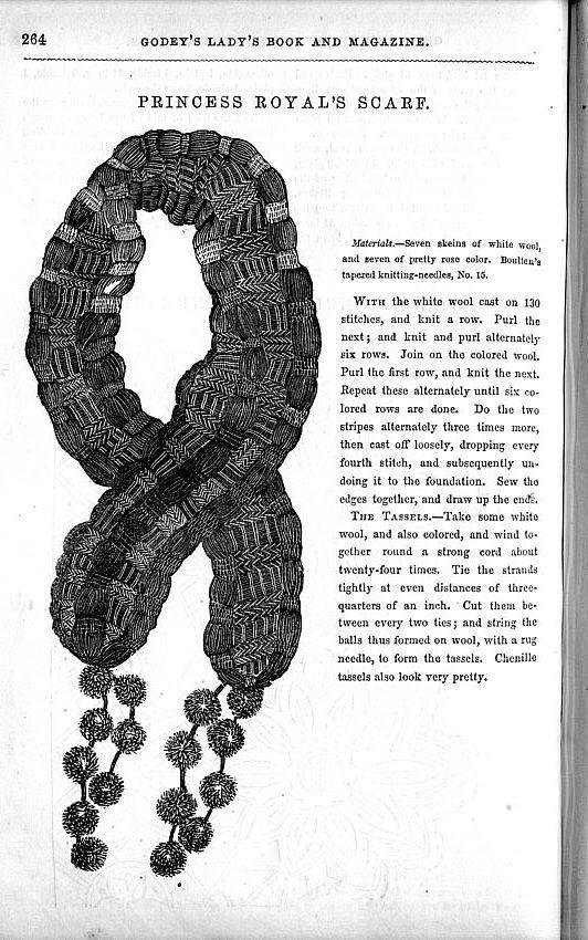 Godey's Lady's Book knitting pattern c.1849. Princess
