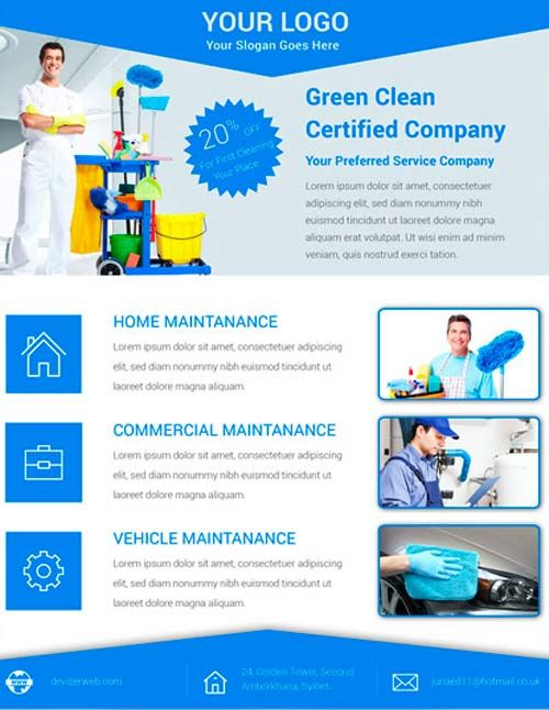 Download the Free Cleaning Service Flyer PSD Template for - business pamphlet templates free