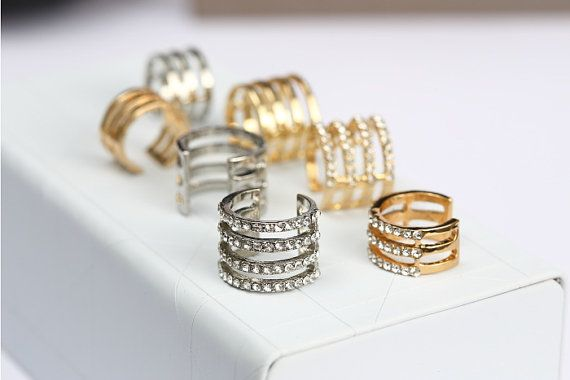 Finger Nail Ring Nail Art Crystal Fashion Ring Rhinestone Ring Glam Jewelry,Joint ring on Etsy, $2.80