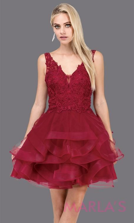 13b389b0036 3026.4-Short v neck burgundy red grade 8 grad dress with wide straps and  low back. Perfect dark red graduation dress for bat mitzvah