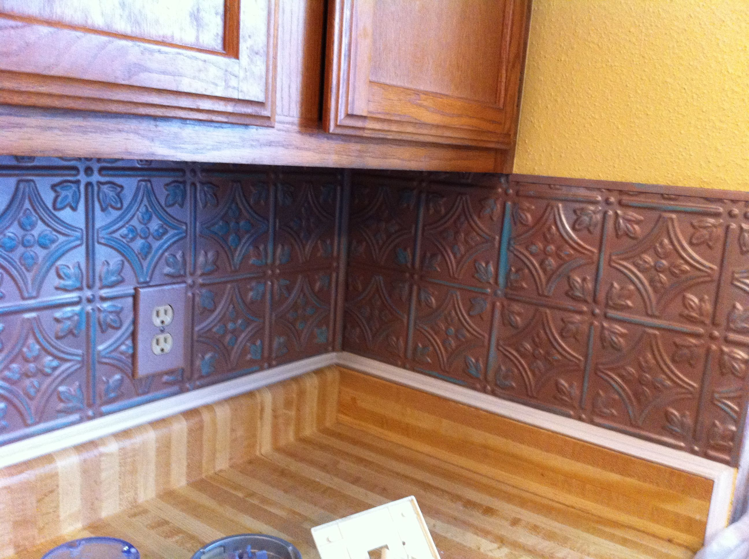 Nice Almost Done With Kitchen Backsplash. These Are Plastic Faux Tin Panels From  Home Depot.