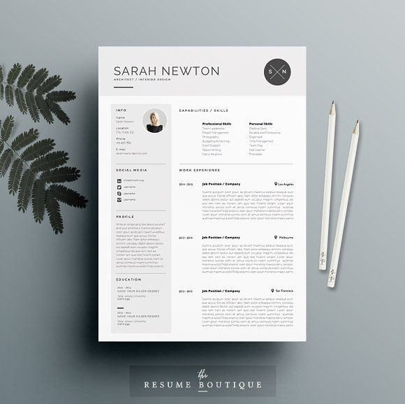 Resume Template Page  Moonlight By TheResumeBoutique On