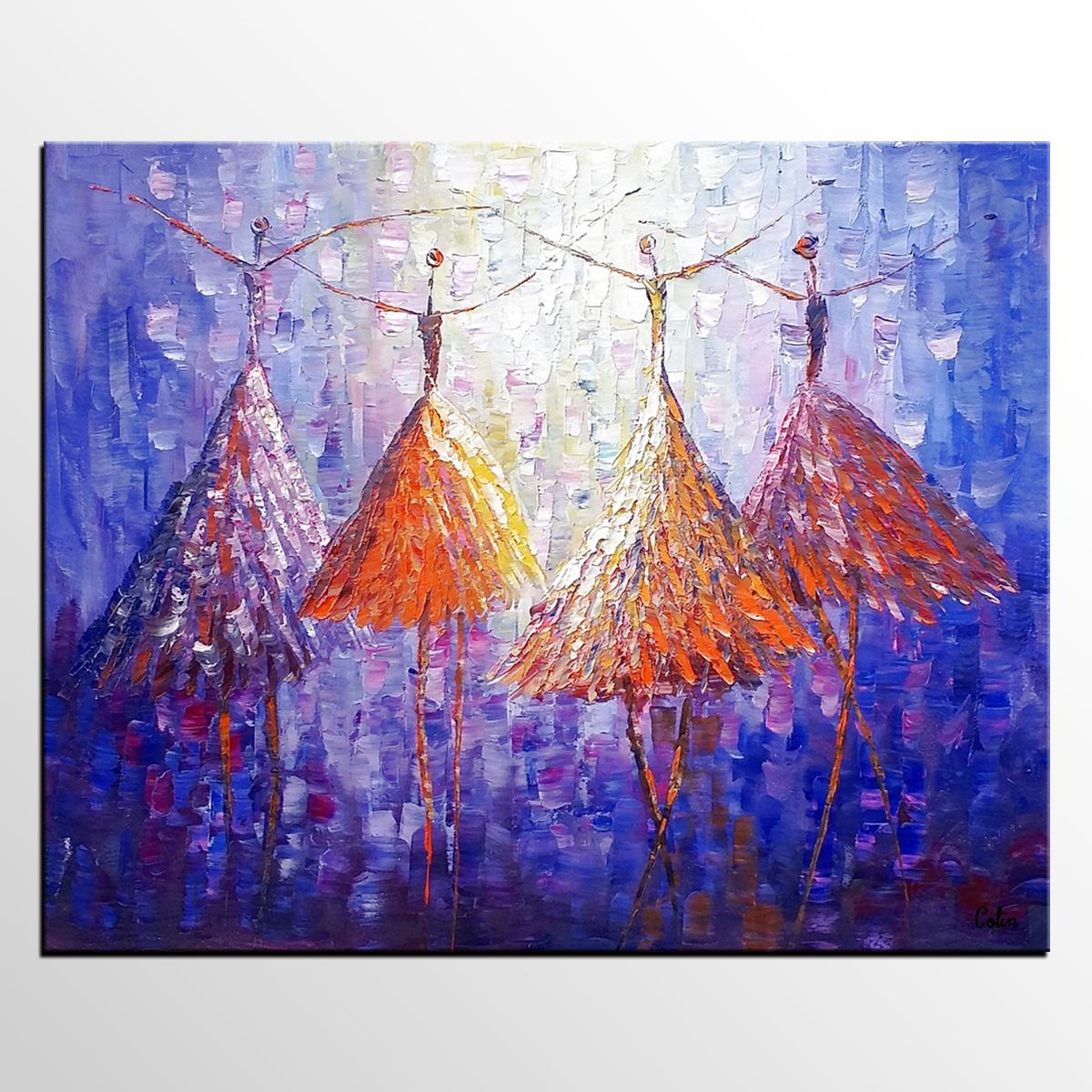 Abstract Art Ballet Dancer Painting Oil Large