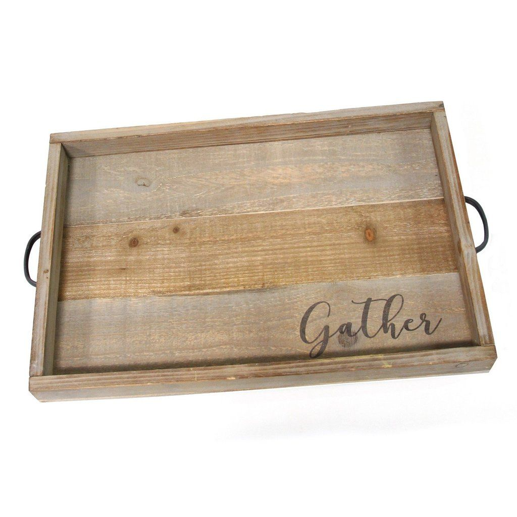 Gather Rustic Wood Tray Tray Table Decor Wood Coffee Table Tray Stratton Home Decor