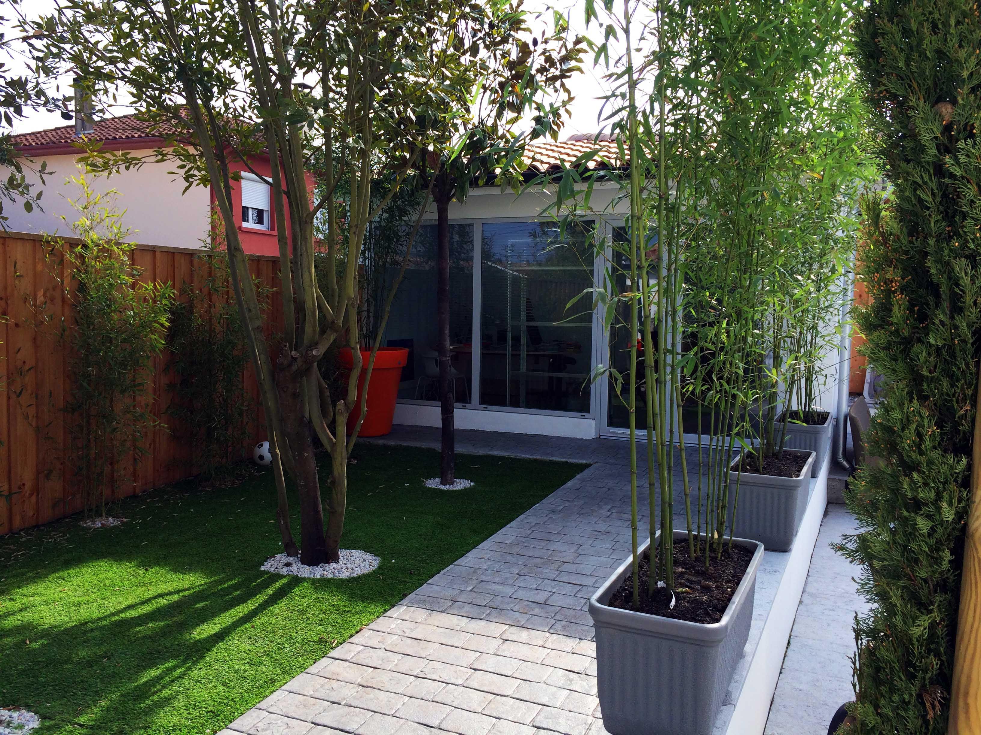 Petit jardin sans entretien avec gazon synth tique et bambous en pots bureau petitjardin - Jardin sans gazon ...