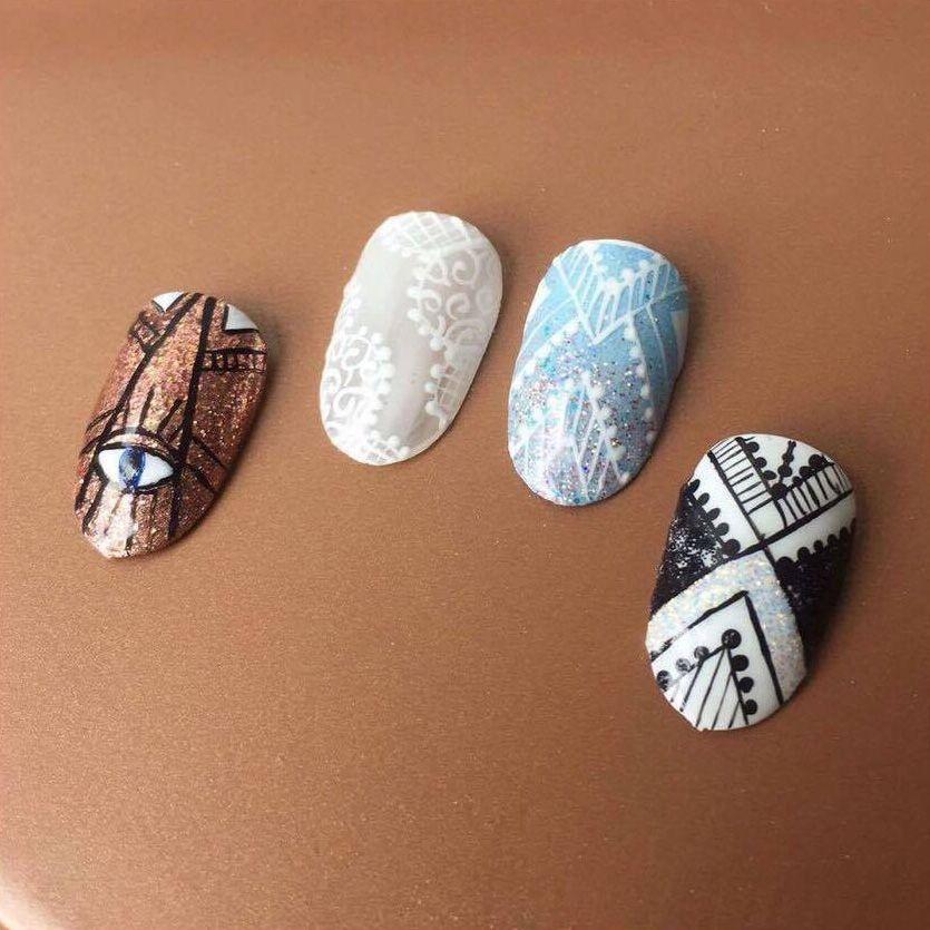 Plume Nail Design Custom Nail Art Hand Painted Nail Art Plume