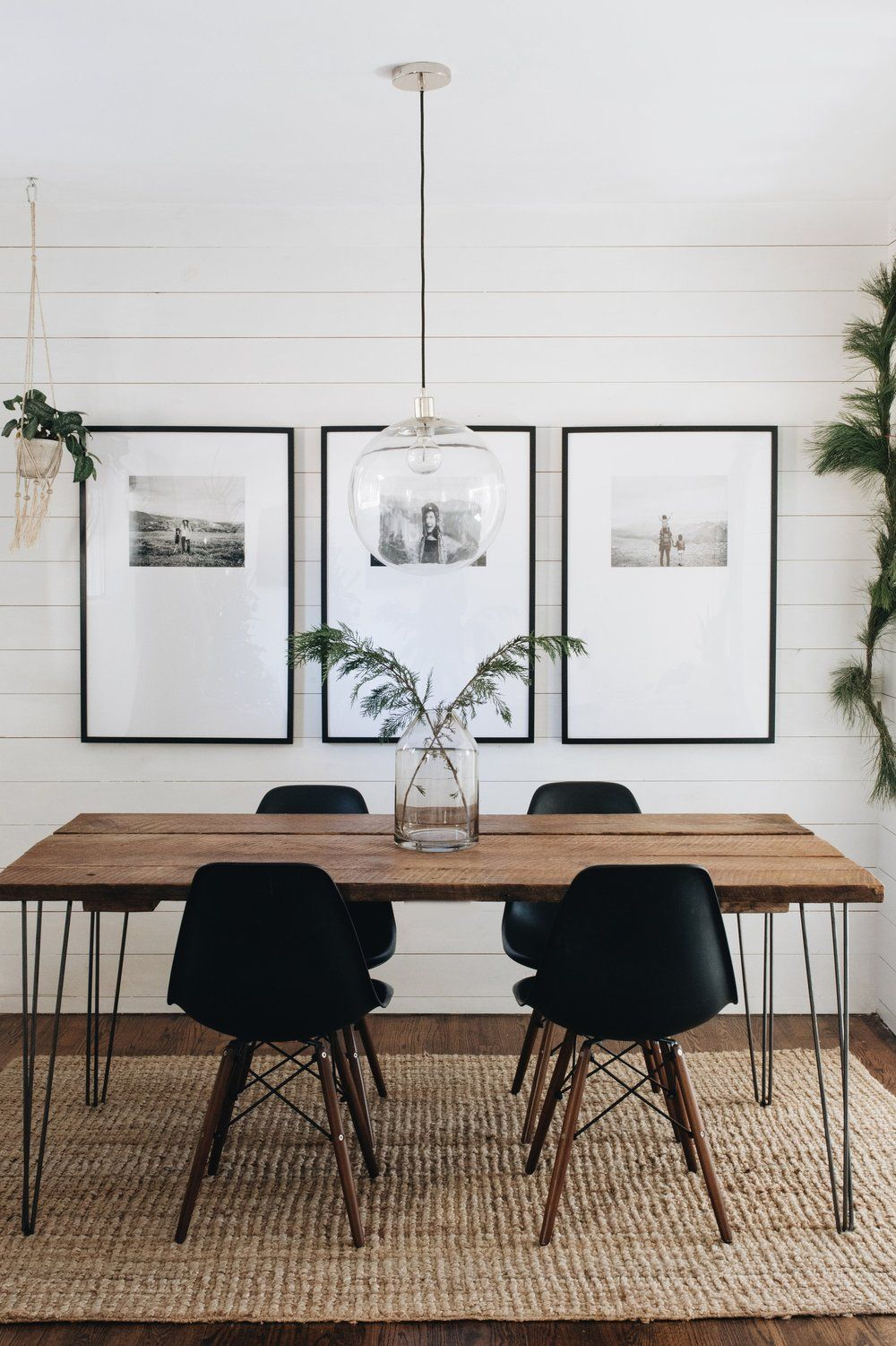 Merry Minimal A sneak peek at our simple holiday decor + get info and sources for our dining room frames #farmhousediningroom