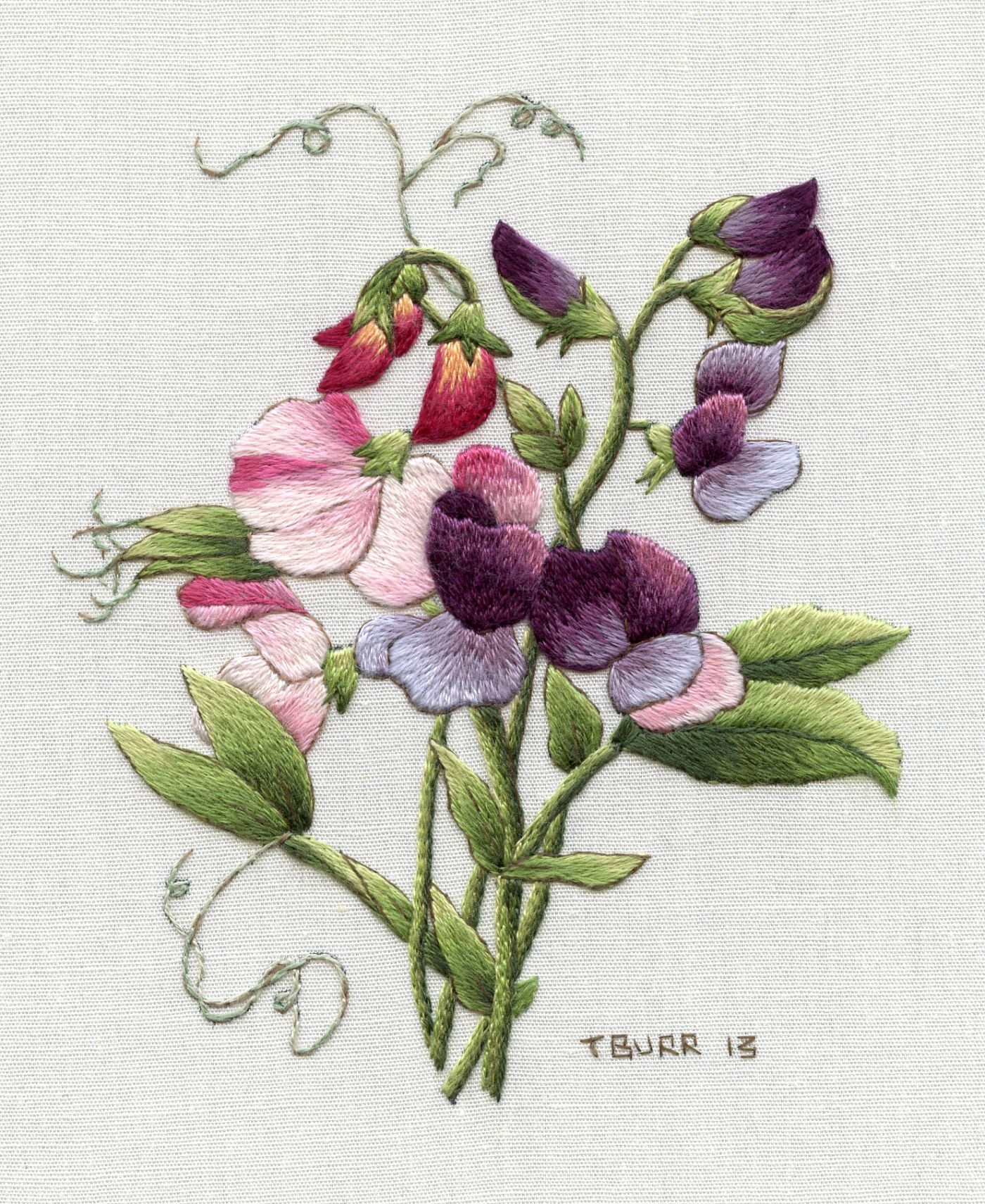sweet pea embroidery # 6