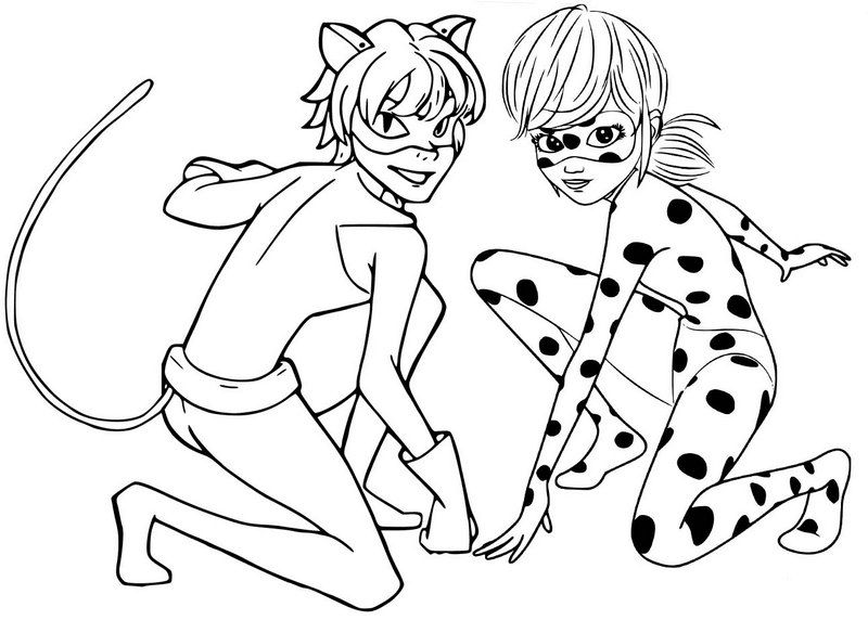 Ladybug And Cat Noir Coloring Page In 2020 Coloring Pages Ladybug Coloring Page Ladybug