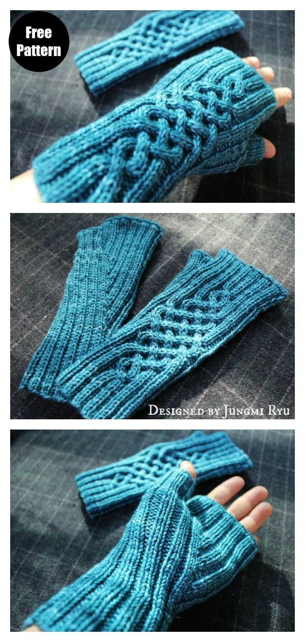 Photo of Celtic Cable Fingerless Gloves Free Knitting Pattern