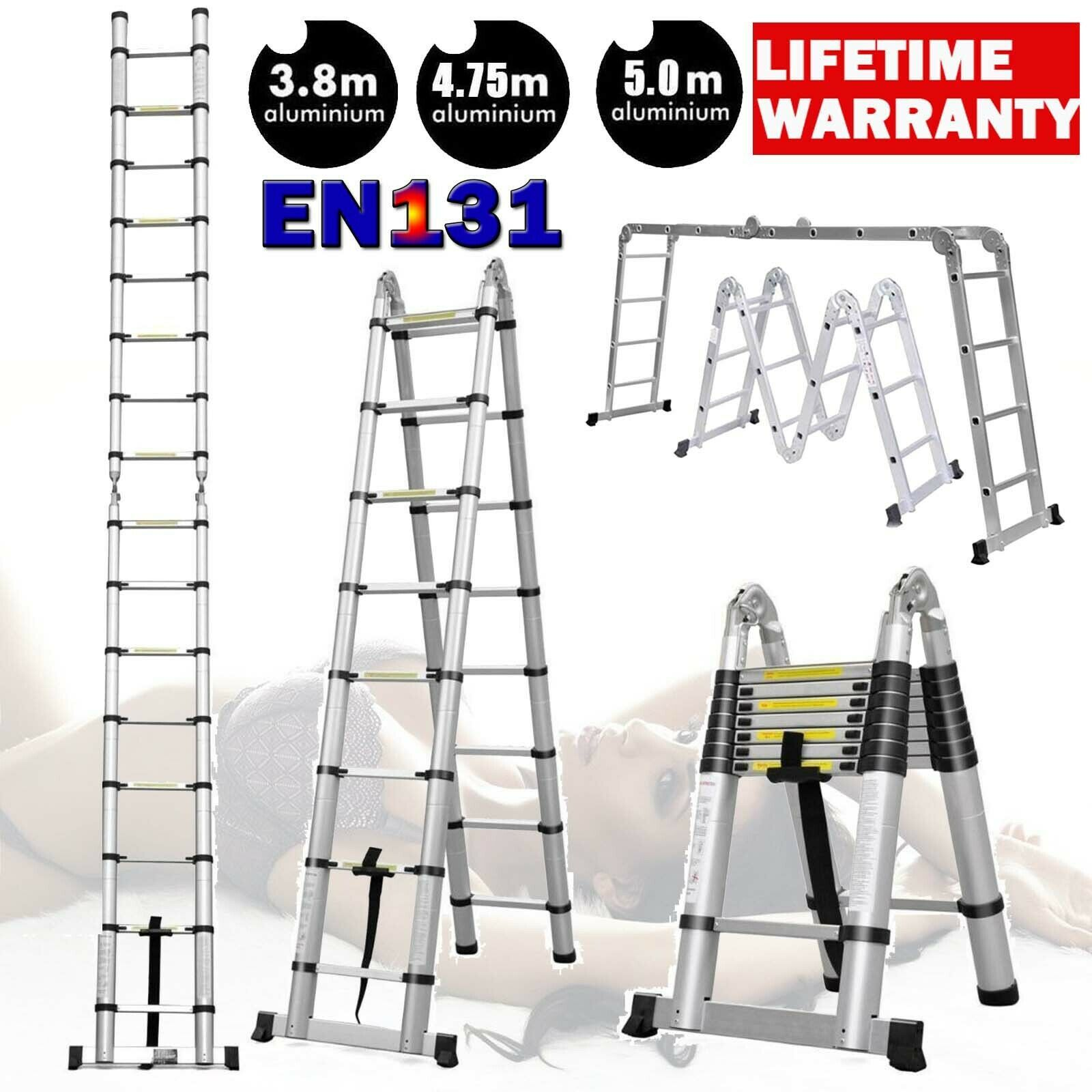 Scaffold Ladder Heavy Duty Giant Aluminum 10 17 Feet 330lb Multi Purpose Extend In 2020 Multi Purpose Ladder Telescopic Ladder Aluminium Ladder