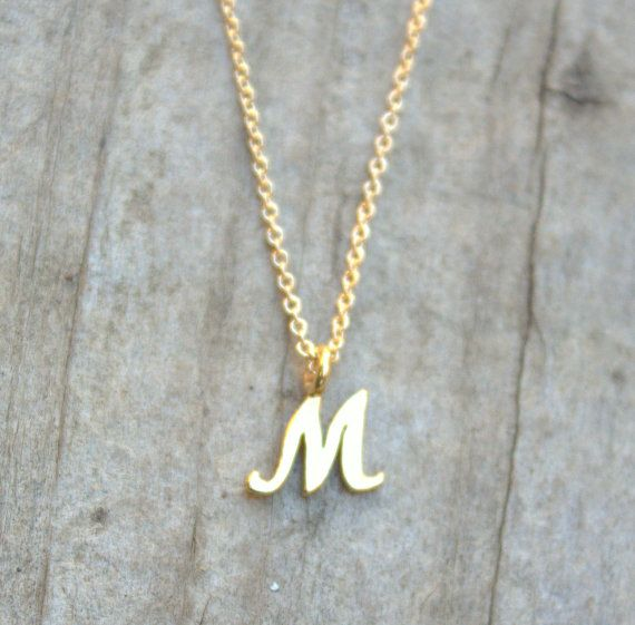 9727f6fc049 Tiny Initial M Pendant Necklace Gold Initial Gift Tiny Letter Charm ...