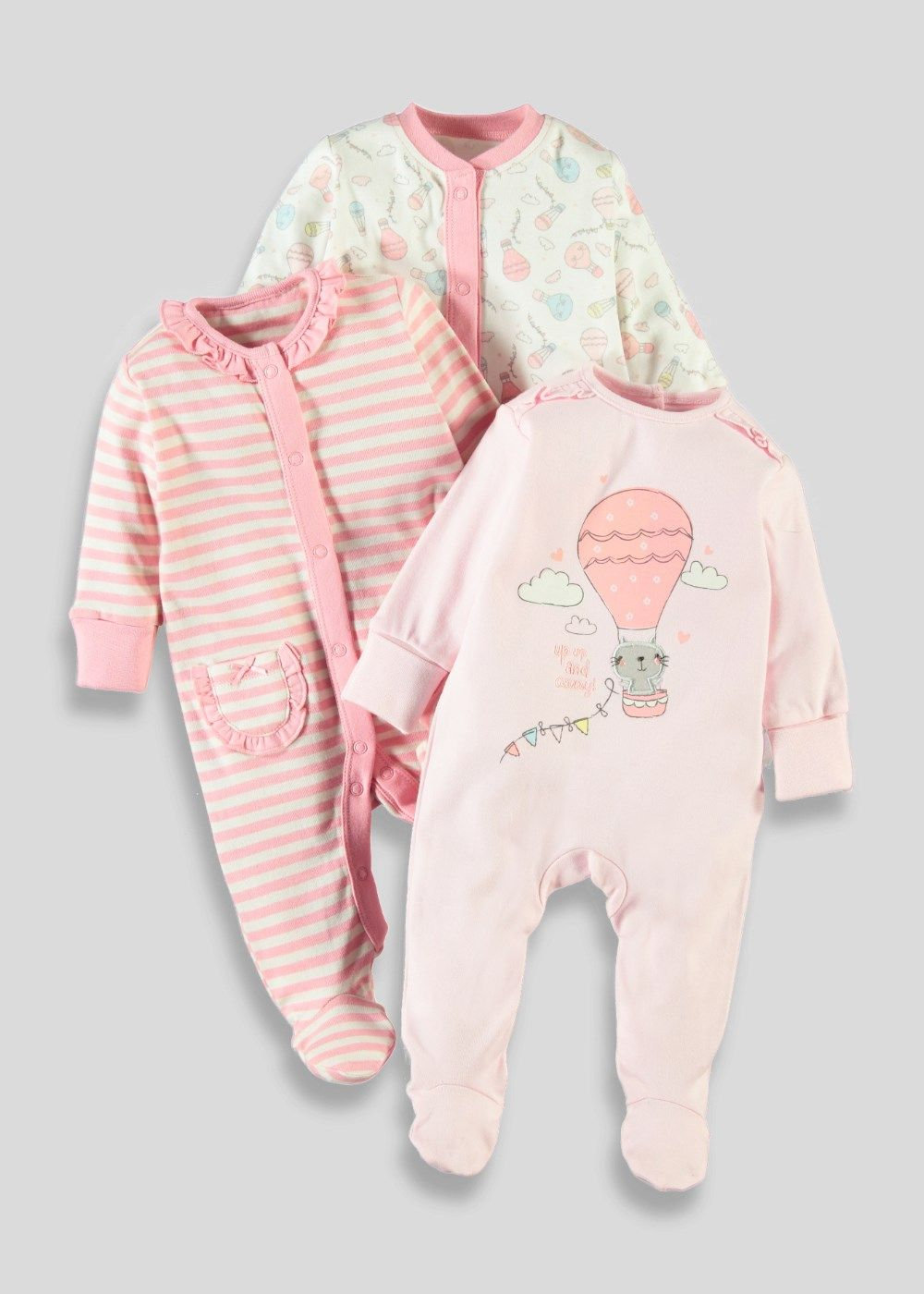 4cd21eee2 Girls 3 Pack Sleepsuits (Tiny Baby-23mths) - Matalan ...