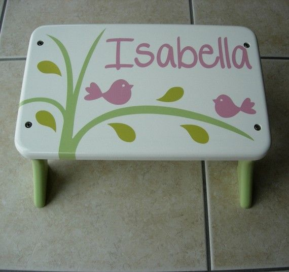 Bird Step Stool Wooden Green White Pink Bird Tree By