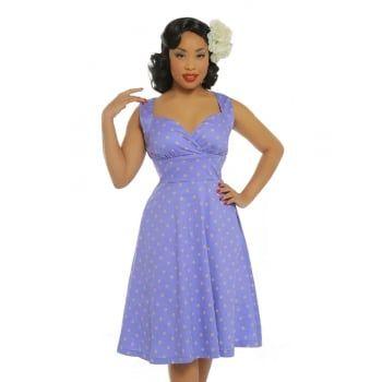 af0e09eca3a1  Layla  Purple Polka Dot Swing Dress.